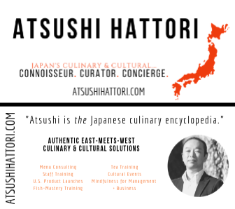 ATSUSHI HATTORI (ATSUSHIHATTORI.COM): All branding: slogan, all design (logo, website, business card), copywriting, business consulting (PICTURED: business card front (top) and back (bottom)