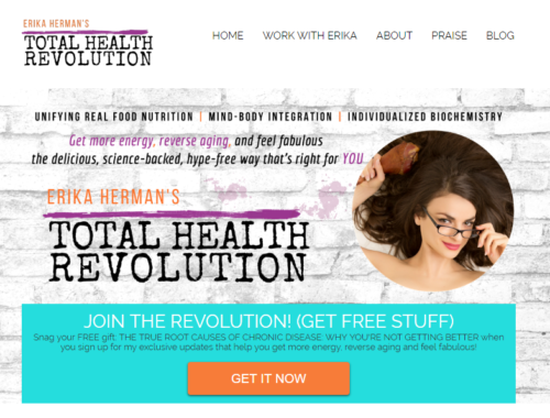 Erika Herman's TOTAL HEALTH REVOLUTION (ErikaHerman.com): Brand name and slogan, brand story, copywriting, graphic design, logo and website design + development, content writing (blogs) (PICTURED: Website header + opt-in)